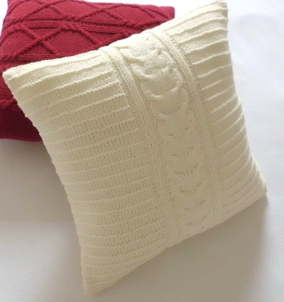 Knitting Pillows : Cable knit off white pillow case throw by adorablewares