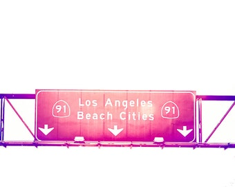 Los Angeles Photography, 8x10 print, Beach Photography, LA, California, Surf,  Road Signs, Interstate, Vibrant, Colorful, Modern Pink