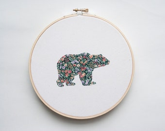 Bear Hoop Art, Embroidery art, Applique, Floral Animal Silhouette, Spring, Grizzly Bear, Forest animal, Wall art