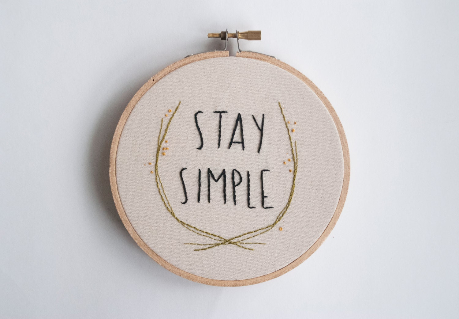 Stay simple hoop art embroidery quote pair