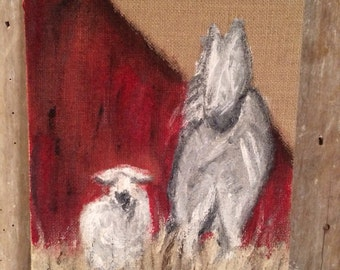 Unlikely Mates- Horse and Sheep 9x12 Burlap Canvas