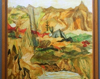 Beatrice Mandelman Original American WPA Taos Modernist Vintage Gouache And Collage Painting Mixed Media Landscape Santa Fe Art