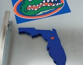 "Florida Gators ""State Heart"" Magnet, handcrafted wood with official team colors"