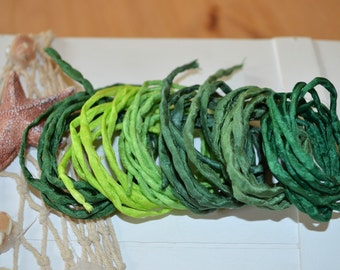Hand dyed Silk Cords  - Set of 6 - green colors silk ribbons