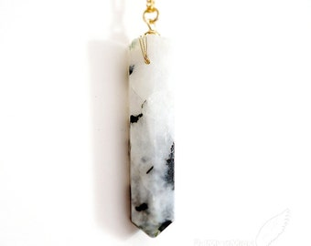 NATURAL Moonstone Points, Stone Color - Rainbow Moonstone, Black & White, Boho Everyday Gift for her Bar Necklace