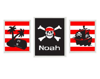 Pirate Wall Art - Black Red Stripes Skull Boy Room Personalized Name Big Boy Room Toddler Wall Art Home Decor    and  x