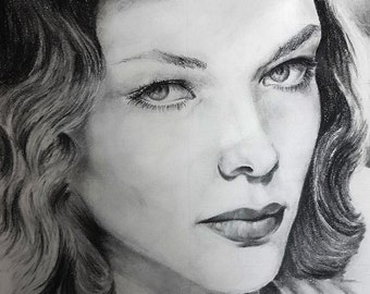 Original Pencil study of silver screen movie star, Lauren Bacall, on bristol paper in grey tones