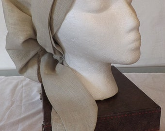 Beautiful Beige Solid 100% Linen Medium Length Head Band Scarf with Matching Wrap Ties