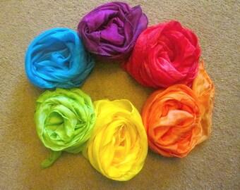 CUSTOM Rainbow of six large full size play silks