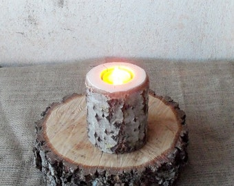 1 Wood Candle Holder - Table Centerpiece -  Wood Log Holder - White Tree Candle Holder - Wedding Decoration - Home Decoration