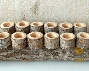 New - Tree Branch Candle Holders -  Set of 12 - Wood Candle holders -  sticks for votive candles - Wedding Centerpiece - Wedding Decoration