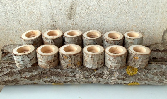 New tree branch candle holders set of wood