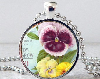 Pansy Pendant, Pansy Necklace, Pansy Jewelry, Glass Pansy Pendant Necklace, Vintage Pansy Seed Packet Necklace, Floral Pendant, Spring Pansy
