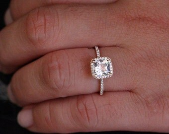 14k Rose Gold 7mm White Topaz Cushion and Diamonds Single Halo Ring (Choose color and size options at checkout)
