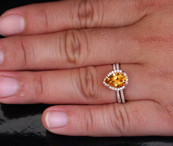 14k Rose Gold 10x7mm Citrine Pear Engagement Ring and Diamond