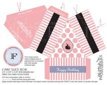 Vintage Barbie Cake Slice Box, Editable Text, Printable, Digital, DIY, Instant Download