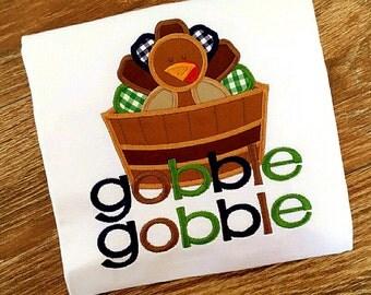 Thanksgiving Turkey Applique Shirt Bodysuit Onesie Boy Toddler