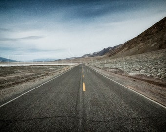 Death Valley Open Road Art, Blue Gray Art, Desert Road, Southwest Landscape Photography, Desolate Nightscape, Starry Sky, Desert Highway
