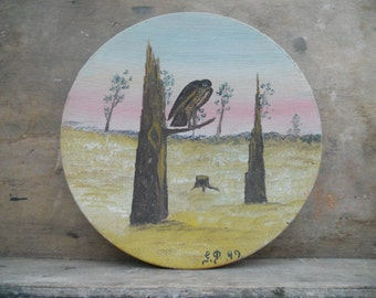 Antique Swedish wooden plate Handpainted wood plate Woodland bird plate Wooden wall hanging 49