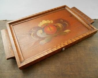 Vintage Swedish wood wall tray Painted wood wall tray Vintage folk wall hanging