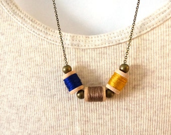 Tiny thread spool necklace, jewelry for sewers, spool necklace, fall colors, seamstress necklace