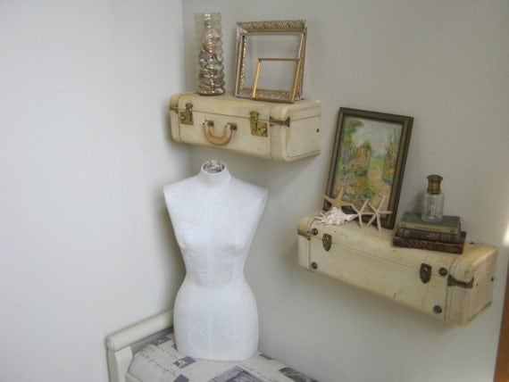 Beach decor wall shelf : Vintage suitcase wall shelves shabby beach cottage chic