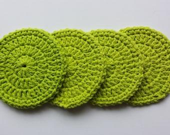 Crochet Coasters - Set of 4 - Lime Green