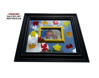 SALE 50% OFF! Children's Puzzle Piece Stained Glass Mirror W/ changeable picture frame