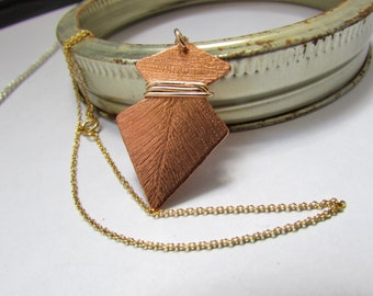 Handmade Boho Copper Arrowhead Necklace - Perfect for a Western Wedding, Anniversary or a Bridesmaid Gift