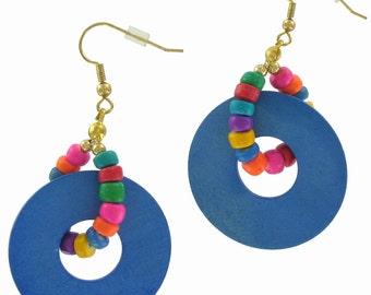 Vintage 1980S Wood Blue Hoop Beaded Pierced Earrings