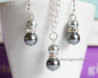 Gray Necklace, Gray Pearl Necklace Set, Bridesmaids Necklace, Flower Girls Necklace and Earrings, Gray Pearl Necklace and Earring Set