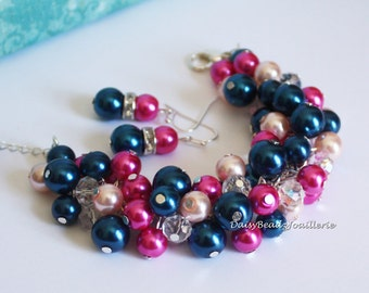 Pearl Cluster Bracelet Navy Hot Pink Chunky Bracelet Bridesmaid Gift Wedding Maid of Honor Prom Beaded Jewelry Silver Jewelry