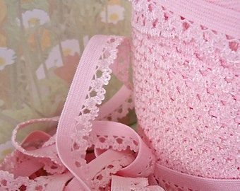 5yd Light Pink Elastic Picot Stretch Trim Ribbon 1/2 inch Skinny Elastic Rick Rack Sewing Trim Single sided Edging Headband Lingerie Elastic