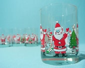 Vintage Santa Claus Christmas Drinking Glasses