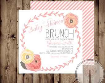 Charming Baby Shower Invitation, BABY GIRL, Floral, Shabby Chic, Baby Shower,invite