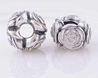 Light PINK ROSE .925 Sterling Silver European Charm Bead
