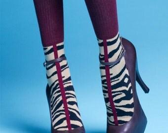 Burgundy Socks, Fantasy Mid-length Socks, Fantasy Print, Women's Clothing