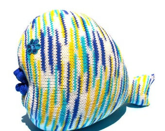 Plush Toy, Fish Pillow, Stuffed Toy, Nautical, Cotton, Blue, Yellow