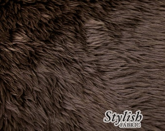Brown Pile Luxury Shag Faux Fur Fabric by the yard for costume, throws, home furnishing, photo props - 1 Yard Style 5009
