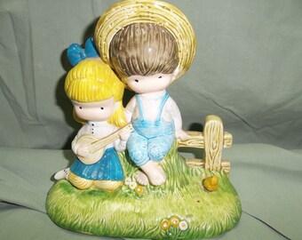 Vintage Ceramic Figurine Banjo Children Boy with Girl Playing Banjo, T