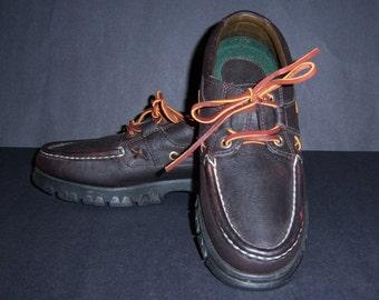 Vintage Polo Ralph Lauren Dark Brown Bomber Leather Topsiders Shoes 8 Medium Deadstock