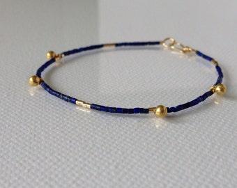 Dainty Lapis Lazuli & Gold Bracelet