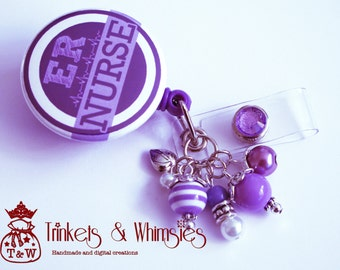 ER Nurse Purple and White Retractable Badge Holder
