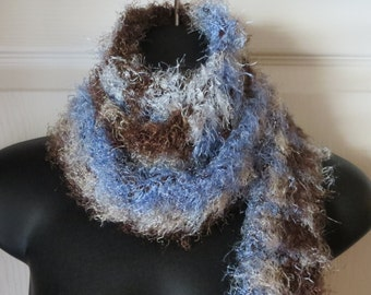 Crochet BLUE'S..BROWN'S Checked Scarf..Cowl..Gift
