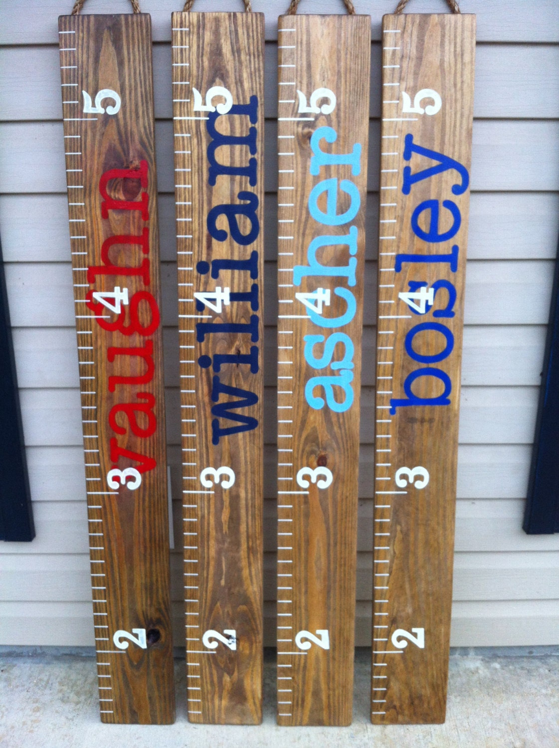 Painted Ruler Growth Chart Wood Growth Chart Baby Growth