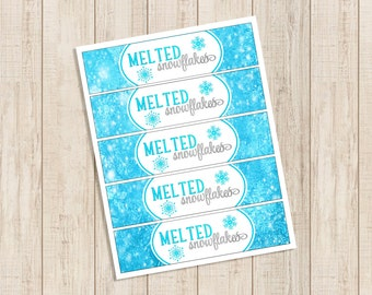 """Frozen Printable Water bottle labels """"Melted Snowflakes"""" DIY  Instant Download"""