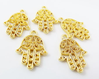 5 Small Filigree Hand of Fatima Hamsa Pendant Charms - 22k Matte Gold Plated