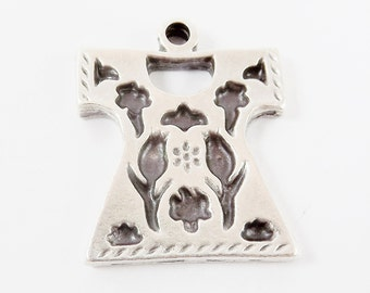 Small Tulip Turkish Ottoman Caftan Pendant - Matte Silver Plated - 1PC
