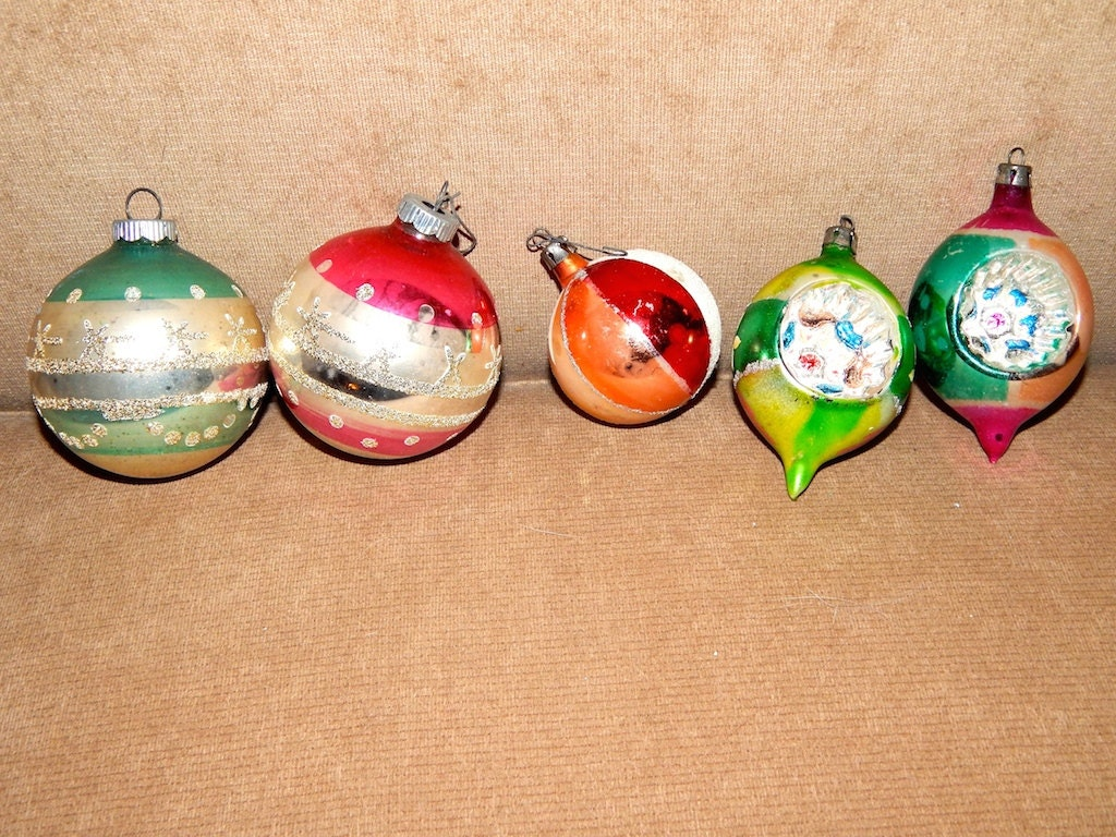 1960's to 1970's Vintage Christmas Ornaments Glitter