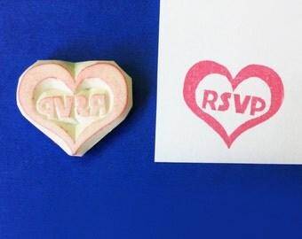 RSVP hand carved rubber stamp - wedding stamp, heart stamp, RSVP stamp, handmade stamp, hand carved rubber stamp, handcarved stamp